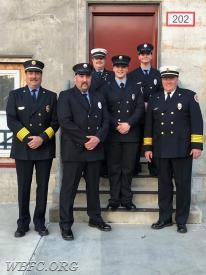 Back Row; Rescue Captain Terry Lewis, FF John Follett. Center; FF Ethan Lange. Bottom Row; Driver/Past Chief Bill Buttner, LT Steve Curdo, Chief Jack Law