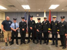 L to R; Lt Curdo, FF Follett, FF Lange, FF Turner, FF Ost-Prisco, Chief Law, Deputy Fairweather, Lt Barton