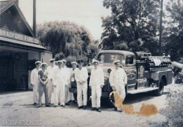 "The ""Crew"" back in the day standing in front of the first fire station in the back alley."