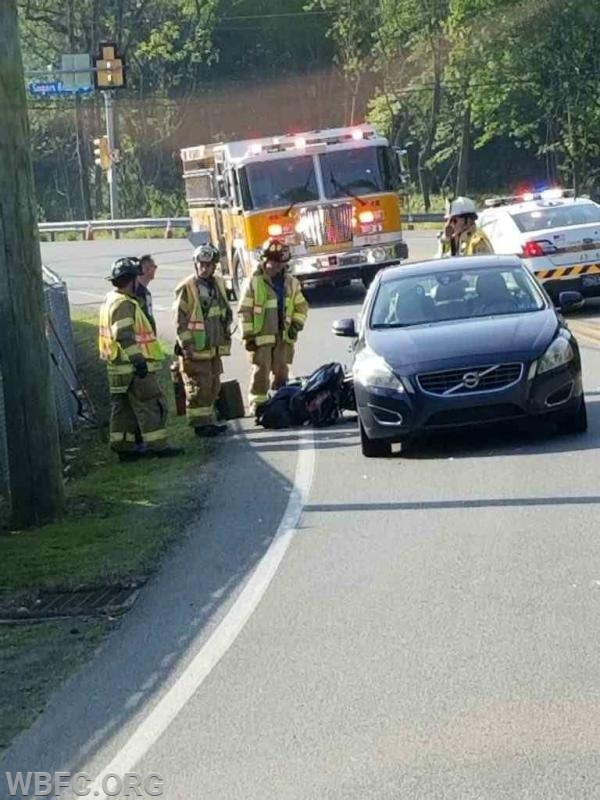 Rt 322 and Sugarsbridge Road motorcycle accident
